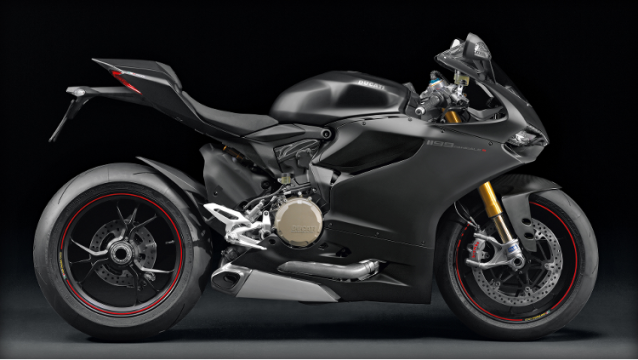 Right side of a flat black 2014 1199 Panigale S
