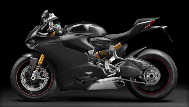 Left side of a flat black 2014 1199 Panigale S