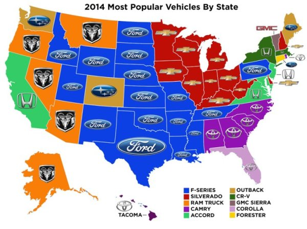 Most Popular Vehicle by State (2014)